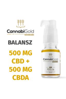 CannabiGold Balance 500 mg CBD + 500 mg CBDA (12 ml) teljes profilú fitokannabinoid kender kivonat